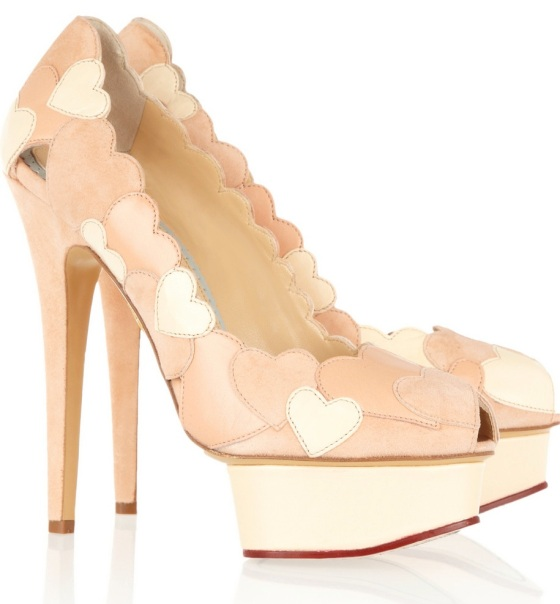 """Charlotte Olympia """"Love Me"""" heart-appliquéd leather and suede pumps"""