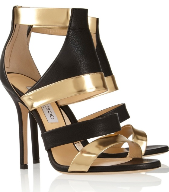 Jimmy Choo Besso textured and mirrored-leather sandals