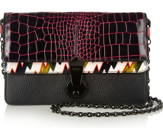 Kenzo printed patent-leather and textured-leather shoulder bag (£854.54)
