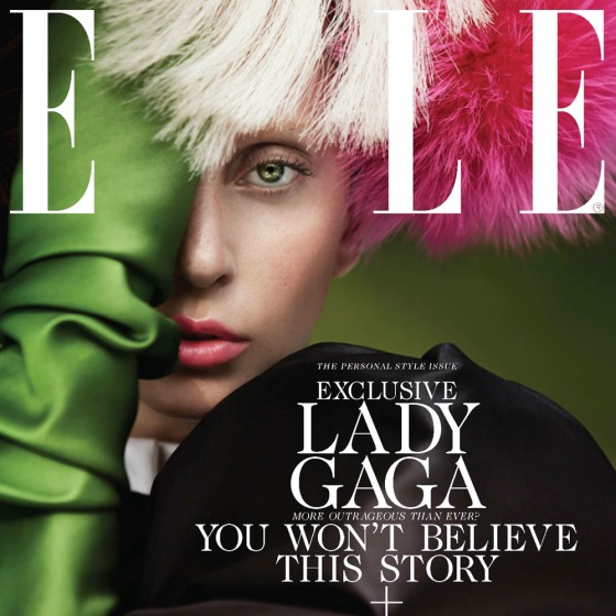 Lady Gaga on the cover of Elle magazine's October issue.