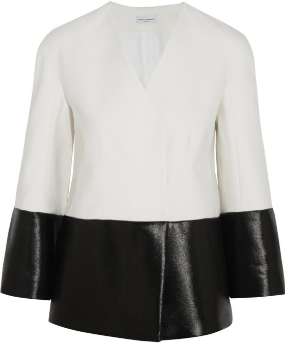 NARCISO RODRIGUEZ Gloss-paneled wool and silk-blend jacket Was £1,966.20 Now £786.48